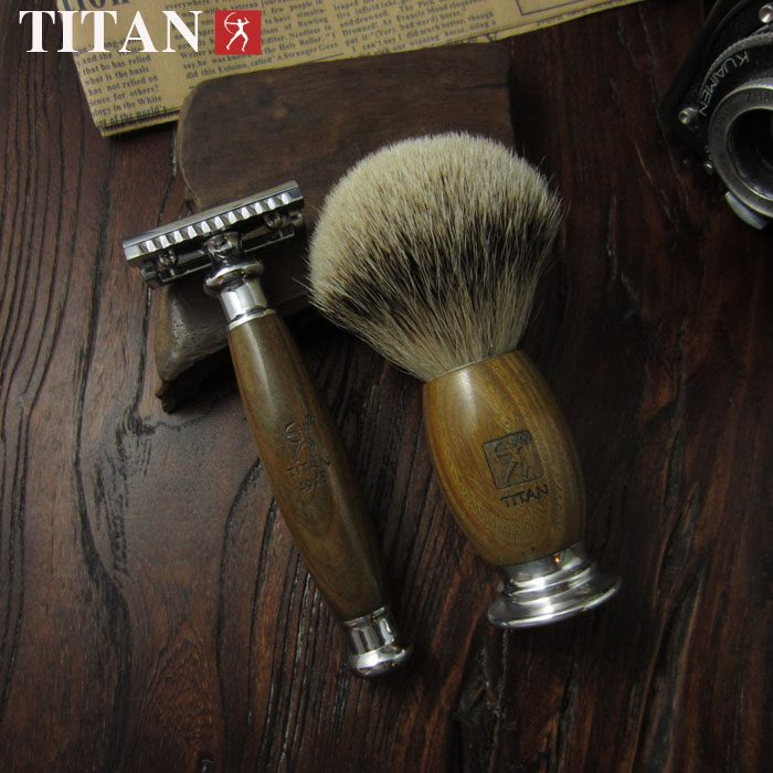 Titan-classic-safety-razor-double-edge-shaving-safety-razor-set-sandal-wood-handle-stainless-razor